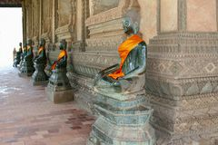 Antique Buddha statues,Wat Phra Keo,Vientiane,Laos Stock Photos