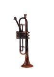 Antique Bugle. Worn old bugle in isolation Stock Image