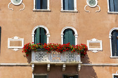 Antique  building with balcony with red  blooming petunia flowers  in Venezia Stock Photos