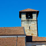 antique  building  clock tower in italy europe old  stone and be Royalty Free Stock Photography