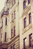 Antique building with ornamental decoration in Czech republic with vintage treatment Stock Photos