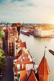 Antique building and river Motlawa in Gdansk royalty free stock image