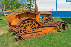 An antique bulldozer on display at an outdoor museum in northern canada Stock Image