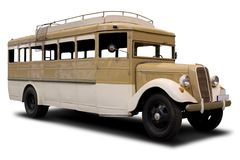 Antique Bus. Big Brown Classic Bus Isolated on White Royalty Free Stock Images
