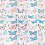 Antique butterflies grungy shabby chic pattern botanical background Stock Image