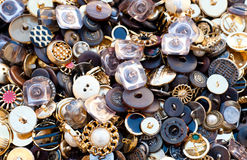Antique buttons. Many antique buttons in random order Royalty Free Stock Photography