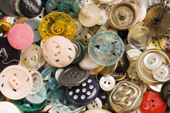 Antique buttons background. Many kinds of different antique buttons background Stock Photography