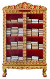 Antique cabinet with Buddhist Meditation Books Royalty Free Stock Images