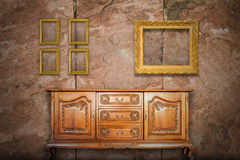 Antique cabinet wood and old picture frame Stock Images