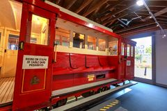 An antique cable car in the Cable Car Museum, Wellington, New Zealand stock photos