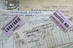 Antique Caledonian Railway documents. Royalty Free Stock Photos