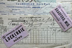 Antique Caledonian Railway documents. Royalty Free Stock Photography