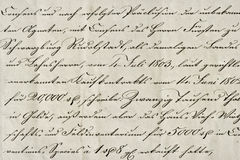 Antique calligraphic handwriting. Old ink manuscript. Paper back Royalty Free Stock Photo