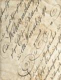 Antique calligraphy. Worn paper texture. Antique calligraphy. Grungy worn paper texture stock image