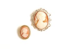 Antique cameo brooch. Royalty Free Stock Images