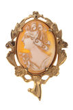 Antique Cameo brooch broach isolated on white. Antique cameo brooch circa 1948, isolated on white stock images