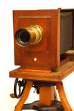 Antique Camera. Antique wood and brass camera Royalty Free Stock Images