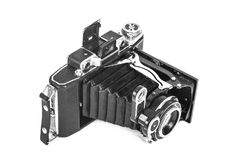 Antique camera with an accordion lens royalty free stock image