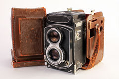 Antique Camera with Case Stock Photo