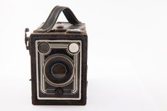 Antique camera isolated. On white background stock image