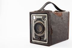 Antique camera isolated. On white background stock images