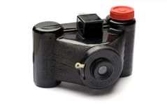 Antique Camera From Left Side. Three quarter view of an antique camera from the early 20th century Stock Photography