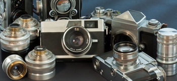 Antique Cameras Royalty Free Stock Photography