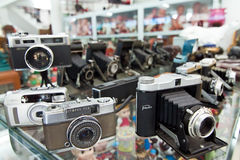 Antique cameras in the museum Royalty Free Stock Image