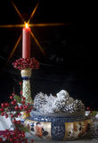 Antique Candlestick & Bowl - Christmas Royalty Free Stock Images