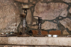 An antique candlestick. On the shelf of one of the basements in Hungary Stock Images