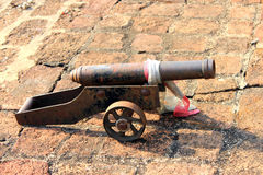 Antique cannon. Made from metal Stock Photo