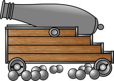Antique cannon. This illustration that I created depicts an old cannon with cannonballs Stock Images