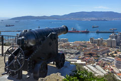 Antique cannon on a background of the bay Stock Image
