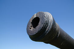 Antique cannon at blue sky Royalty Free Stock Photography
