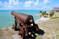 Antique cannon looking at sea Stock Image