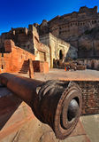 Antique cannon at mehrangarh fort,rajasthan Stock Photos
