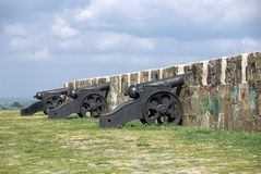 Antique cannon on the ramparts of Azov Stock Photography
