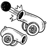 Antique cannon sketch. Doodle style old style cannon sketch in vector format Stock Photos