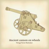 Antique cannon on wheels. Royalty Free Stock Photography