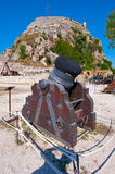 Antique Canon in the Old Fortress. Kerkyra city, Corfu island, Greece. Royalty Free Stock Image