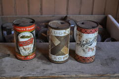 Antique Cans. Old local beer cans found in ghost town of Garnet, MT Royalty Free Stock Photography