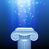 Antique capital in blue light Royalty Free Stock Photos