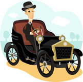 Antique car cartoon. Antique Collector Car,with driver wearing a suit and bowler hat  illustration cartoon Stock Image