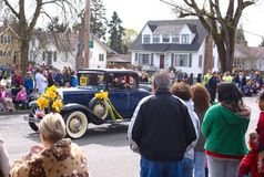 Antique car in the Daffodil Parade Royalty Free Stock Photo