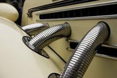 Antique car details. Details of antique beige  car Royalty Free Stock Photos