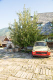 Antique car from East Germany in Kusturica Drvengrad, Serbia. Drvengrad also Kustendorf, Mechavnik - ethnovillage built filmmaker Emir Kusturica for the filming royalty free stock image