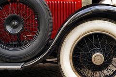 Antique car fender and wheels. The fender and spoked wheels of an antique classic car Royalty Free Stock Photos