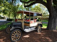 Antique car in front of the Beaulieu Vineyard in Napa Valley. Royalty Free Stock Photo