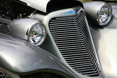 Antique Car Grill Headlights Stock Photo