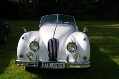Antique car Jaguar. Exhibited antique white Jaguar vehicle Stock Image